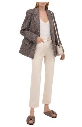 Женские кожаные шлепанцы BALENCIAGA бежевого цвета, арт. 653904/WA2M3 | Фото 2