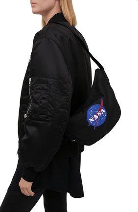 Женская сумка space BALENCIAGA черного цвета, арт. 659140/2VZ9I | Фото 2 (Ошибки технического описания: Нет ширины; Материал: Текстиль; Размер: small; Сумки-технические: Сумки через плечо)