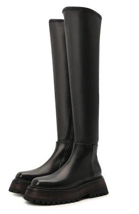 Женские кожаные ботфорты MARSELL черного цвета, арт. MW6525/BIMATEIRALE PELLE   Фото 1 (Материал внутренний: Натуральная кожа; Подошва: Платформа; Высота голенища: Высокие; Каблук высота: Средний; Каблук тип: Устойчивый)