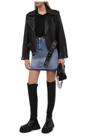 Женские кожаные ботфорты MARSELL черного цвета, арт. MW6525/BIMATEIRALE PELLE   Фото 2 (Материал внутренний: Натуральная кожа; Подошва: Платформа; Высота голенища: Высокие; Каблук высота: Средний; Каблук тип: Устойчивый)