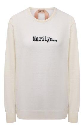 Женский шерстяной пуловер N21 кремвого цвета, арт. 21I N2M0/A012/7019   Фото 1