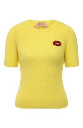 Женский шерстяной пуловер N21 желтого цвета, арт. 21I N2M0/A020/7125   Фото 1