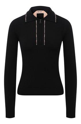Женский шерстяной пуловер N21 черного цвета, арт. 21I N2M0/A036/9005   Фото 1