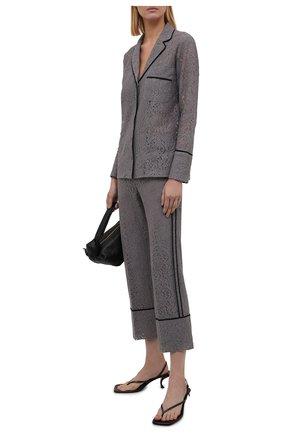 Женские хлопковые брюки N21 серого цвета, арт. 21I N2M0/B061/4123   Фото 2