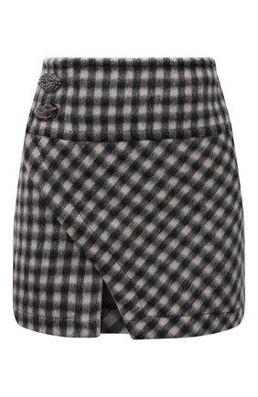 Женская шерстяная юбка N21 серого цвета, арт. 21I N2M0/C112/3026 | Фото 1 (Длина Ж (юбки, платья, шорты): Мини; Материал внешний: Шерсть; Материал подклада: Хлопок; Женское Кросс-КТ: Юбка-одежда; Стили: Гламурный)