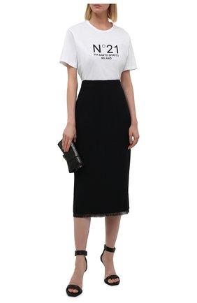 Женская хлопковая футболка N21 белого цвета, арт. 21I N2M0/F051/6322   Фото 2