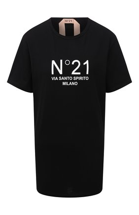 Женская хлопковая футболка N21 черного цвета, арт. 21I N2M0/F051/6322   Фото 1