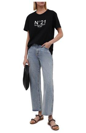Женская хлопковая футболка N21 черного цвета, арт. 21I N2M0/F051/6322   Фото 2