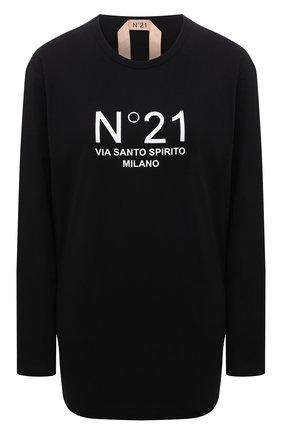 Женский хлопковый пуловер N21 черного цвета, арт. 21I N2M0/F052/6322   Фото 1