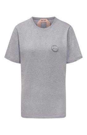 Женская хлопковая футболка N21 серого цвета, арт. 21I N2M0/F081/4157   Фото 1