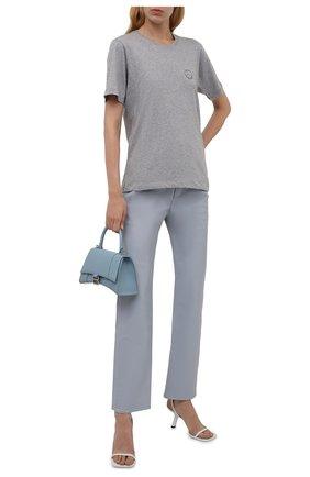 Женская хлопковая футболка N21 серого цвета, арт. 21I N2M0/F081/4157   Фото 2