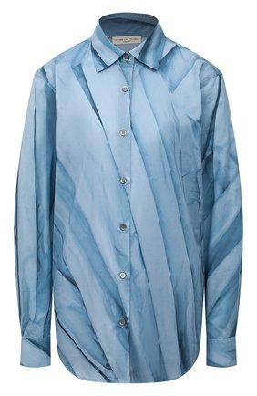 Женская хлопковая рубашка DRIES VAN NOTEN голубого цвета, арт. 212-010767-3074   Фото 1 (Длина (для топов): Удлиненные; Материал внешний: Хлопок; Рукава: Длинные; Женское Кросс-КТ: Рубашка-одежда; Принт: С принтом; Стили: Романтичный)