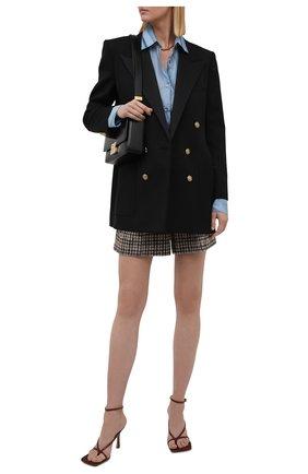 Женская хлопковая рубашка DRIES VAN NOTEN голубого цвета, арт. 212-010767-3074   Фото 2 (Длина (для топов): Удлиненные; Материал внешний: Хлопок; Рукава: Длинные; Женское Кросс-КТ: Рубашка-одежда; Принт: С принтом; Стили: Романтичный)