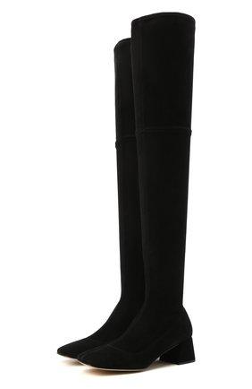 Женские замшевые ботфорты SERGIO ROSSI черного цвета, арт. A95990-MAGE01   Фото 1 (Каблук высота: Низкий; Подошва: Плоская; Материал внутренний: Натуральная кожа; Высота голенища: Высокие; Каблук тип: Устойчивый; Материал внешний: Замша)