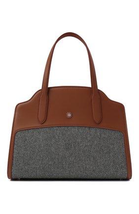 Женская сумка sesia medium LORO PIANA серого цвета, арт. FAL7872 | Фото 1 (Материал: Текстиль; Ремень/цепочка: На ремешке; Размер: medium; Сумки-технические: Сумки через плечо, Сумки top-handle)