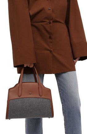 Женская сумка sesia medium LORO PIANA серого цвета, арт. FAL7872 | Фото 2 (Материал: Текстиль; Ремень/цепочка: На ремешке; Размер: medium; Сумки-технические: Сумки через плечо, Сумки top-handle)