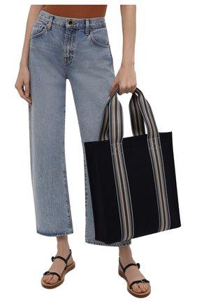 Женский сумка-шопер suitcase stripe LORO PIANA голубого цвета, арт. FAL4563   Фото 2 (Материал: Текстиль; Сумки-технические: Сумки-шопперы; Размер: large)