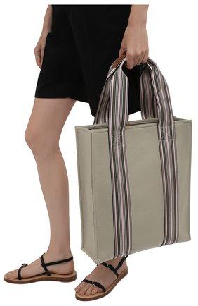 Женский сумка-шопер suitcase stripe LORO PIANA зеленого цвета, арт. FAL4563 | Фото 2 (Материал: Текстиль; Сумки-технические: Сумки-шопперы; Размер: large)