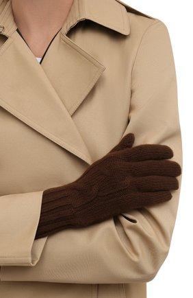 Женские кашемировые перчатки LORO PIANA коричневого цвета, арт. FAI8570 | Фото 2 (Материал: Кашемир, Шерсть; Кросс-КТ: Трикотаж; Длина (верхняя одежда): Длинные)