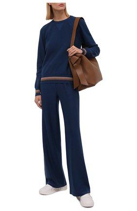 Женские кашемировые брюки LORO PIANA бирюзового цвета, арт. FAI7258 | Фото 2 (Материал внешний: Кашемир, Шерсть; Женское Кросс-КТ: Брюки-одежда; Силуэт Ж (брюки и джинсы): Расклешенные; Стили: Спорт-шик; Длина (брюки, джинсы): Стандартные)