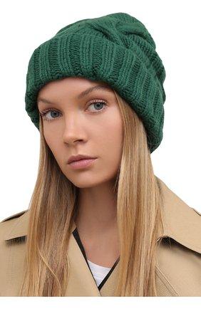 Женская кашемировая шапка courchevel LORO PIANA темно-зеленого цвета, арт. FAI5490 | Фото 2 (Материал: Кашемир, Шерсть)