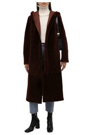Женская двусторонняя дубленка LORO PIANA коричневого цвета, арт. FAL2393 | Фото 2 (Материал внешний: Натуральный мех; Рукава: Длинные; Длина (верхняя одежда): Длинные; Стили: Кэжуэл)