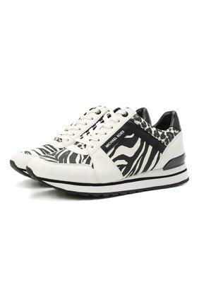 Женские комбинированные кроссовки billie MICHAEL MICHAEL KORS черного цвета, арт. 43T1BIFS1D   Фото 1 (Материал внешний: Текстиль; Материал внутренний: Текстиль, Натуральная кожа; Подошва: Платформа)
