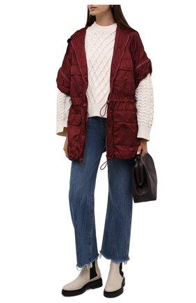 Женская куртка REDVALENTINO бордового цвета, арт. WR3CJ00T/63K   Фото 2 (Длина (верхняя одежда): До середины бедра; Материал внешний: Синтетический материал; Рукава: Короткие; Стили: Спорт-шик; Кросс-КТ: Куртка)