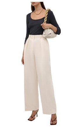 Женская хлопковый лонгслив JAMES PERSE темно-синего цвета, арт. WRTJ3663   Фото 2 (Рукава: 3/4; Материал внешний: Синтетический материал, Хлопок; Длина (для топов): Стандартные; Женское Кросс-КТ: Лонгслив-одежда; Принт: Без принта; Стили: Спорт-шик)