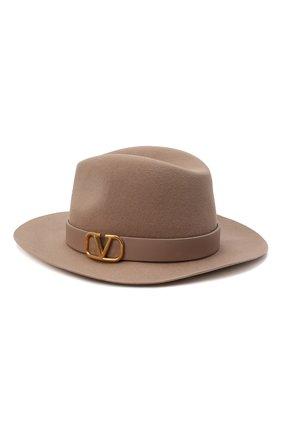 Женская фетровая шляпа VALENTINO бежевого цвета, арт. WW2HAA26/YTE | Фото 1 (Материал: Шерсть)