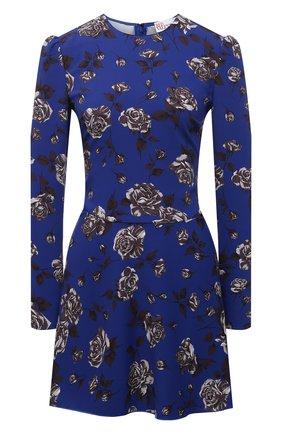 Женское платье REDVALENTINO синего цвета, арт. WR0VACD0/65L   Фото 1 (Материал внешний: Синтетический материал; Женское Кросс-КТ: Платье-одежда; Рукава: Длинные; Длина Ж (юбки, платья, шорты): Мини; Стили: Романтичный; Случай: Коктейльный)