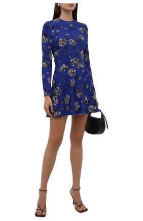 Женское платье REDVALENTINO синего цвета, арт. WR0VACD0/65L   Фото 2 (Материал внешний: Синтетический материал; Женское Кросс-КТ: Платье-одежда; Рукава: Длинные; Длина Ж (юбки, платья, шорты): Мини; Стили: Романтичный; Случай: Коктейльный)