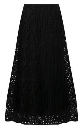 Женская юбка из хлопка и вискозы VALENTINO черного цвета, арт. WB3RA7Z06JP   Фото 1 (Материал внешний: Хлопок; Материал подклада: Вискоза; Длина Ж (юбки, платья, шорты): Миди; Женское Кросс-КТ: Юбка-одежда; Стили: Романтичный)