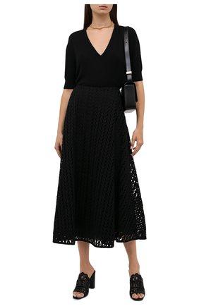 Женская юбка из хлопка и вискозы VALENTINO черного цвета, арт. WB3RA7Z06JP   Фото 2 (Материал внешний: Хлопок; Материал подклада: Вискоза; Длина Ж (юбки, платья, шорты): Миди; Женское Кросс-КТ: Юбка-одежда; Стили: Романтичный)
