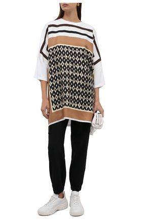 Женская хлопковая футболка VALENTINO бежевого цвета, арт. WB3MG14E6K3 | Фото 2 (Рукава: 3/4; Материал внешний: Хлопок; Длина (для топов): Удлиненные; Женское Кросс-КТ: Футболка-одежда; Принт: С принтом; Стили: Спорт-шик)