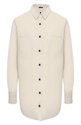 Женская хлопковая рубашка KITON кремвого цвета, арт. D52451K0598A   Фото 1 (Рукава: Длинные; Материал внешний: Хлопок; Длина (для топов): Удлиненные; Женское Кросс-КТ: Рубашка-одежда; Принт: Без принта; Стили: Кэжуэл)