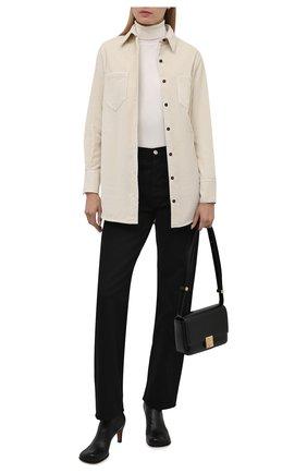 Женская хлопковая рубашка KITON кремвого цвета, арт. D52451K0598A   Фото 2 (Рукава: Длинные; Материал внешний: Хлопок; Длина (для топов): Удлиненные; Женское Кросс-КТ: Рубашка-одежда; Принт: Без принта; Стили: Кэжуэл)
