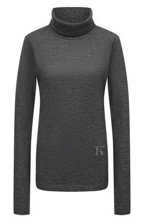 Женская кашемировая водолазка KITON темно-серого цвета, арт. D52448K0535A   Фото 1 (Материал внешний: Шерсть, Кашемир; Рукава: Длинные; Длина (для топов): Стандартные; Женское Кросс-КТ: Водолазка-одежда; Стили: Кэжуэл)
