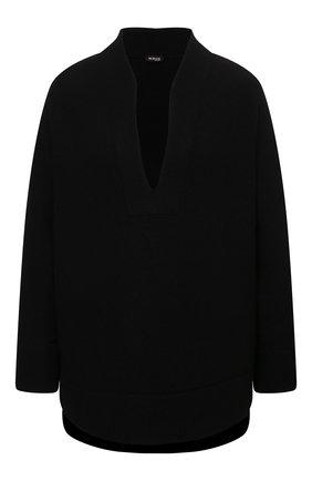 Женская кашемировая рубашка KITON черного цвета, арт. D52427K02T15   Фото 1 (Материал внешний: Шерсть, Кашемир; Рукава: Длинные; Длина (для топов): Удлиненные; Женское Кросс-КТ: Рубашка-одежда; Принт: Без принта; Стили: Романтичный)