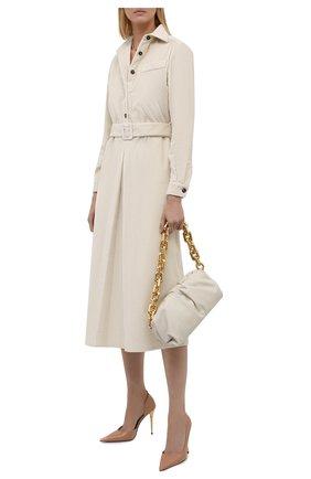 Женское хлопковое платье KITON кремвого цвета, арт. D52315K0598A   Фото 2 (Материал внешний: Хлопок; Длина Ж (юбки, платья, шорты): Миди; Рукава: Длинные; Женское Кросс-КТ: Платье-одежда; Стили: Кэжуэл; Случай: Повседневный)