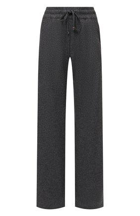 Женские кашемировые брюки KITON темно-серого цвета, арт. D48122K0535A   Фото 1 (Материал внешний: Шерсть, Кашемир; Длина (брюки, джинсы): Удлиненные; Женское Кросс-КТ: Брюки-одежда; Силуэт Ж (брюки и джинсы): Расклешенные; Стили: Спорт-шик)