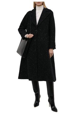 Женское пальто из шерсти и кашемира KITON черного цвета, арт. D52601K0126A   Фото 2 (Материал внешний: Кашемир, Шерсть; Длина (верхняя одежда): Длинные; Рукава: Длинные; Материал подклада: Шелк; 1-2-бортные: Однобортные; Стили: Классический)
