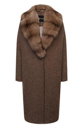 Женское кашемировое пальто KITON бежевого цвета, арт. D50633K0581A   Фото 1 (Материал внешний: Кашемир, Шерсть; Длина (верхняя одежда): До колена; Рукава: Длинные; Материал подклада: Шелк; 1-2-бортные: Однобортные; Стили: Кэжуэл)
