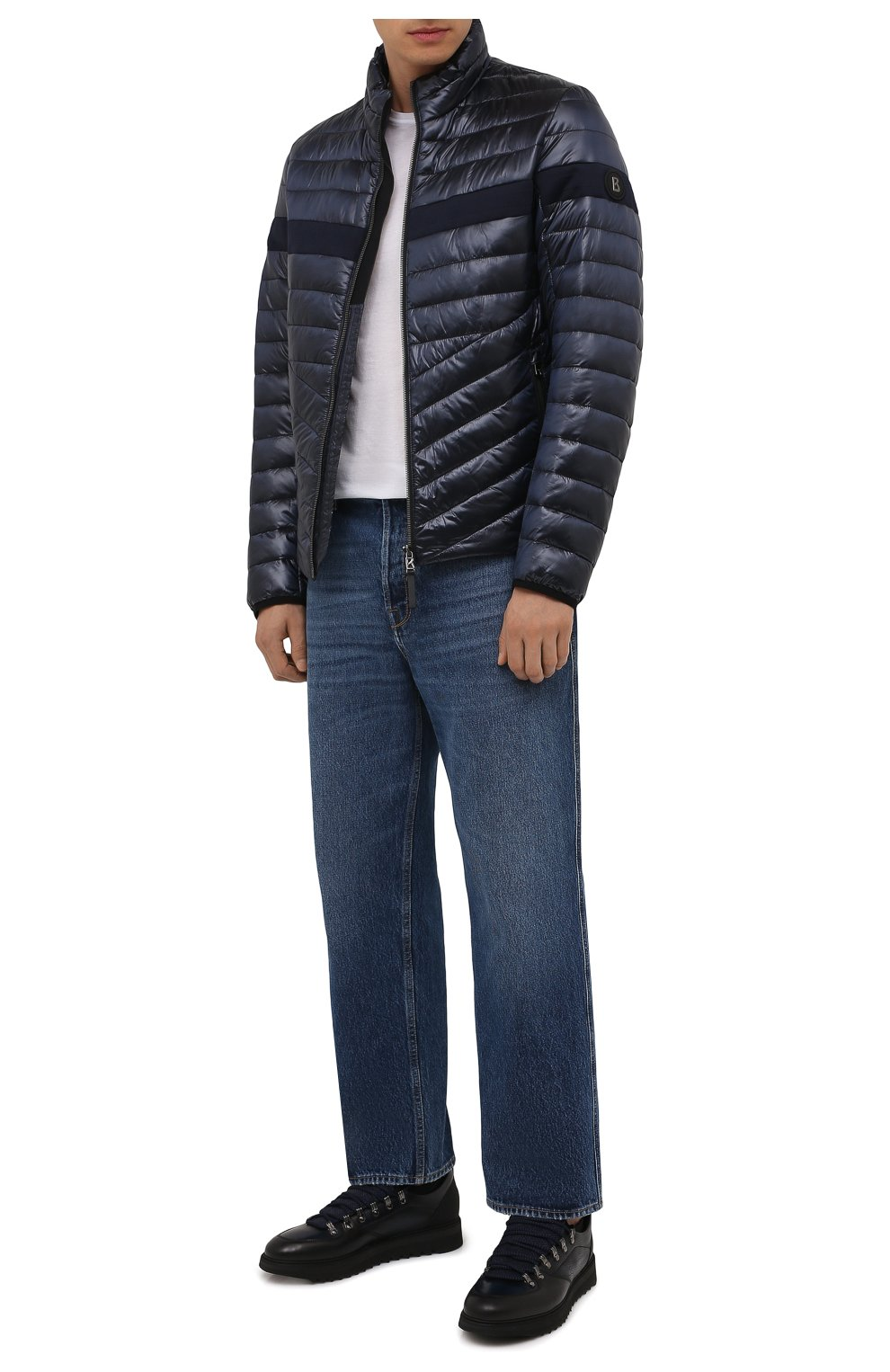 Мужская утепленная куртка BOGNER темно-синего цвета, арт. 38426549   Фото 2 (Кросс-КТ: Куртка; Мужское Кросс-КТ: пуховик-короткий; Рукава: Длинные; Материал внешний: Синтетический материал; Материал подклада: Синтетический материал; Длина (верхняя одежда): Короткие; Стили: Кэжуэл)