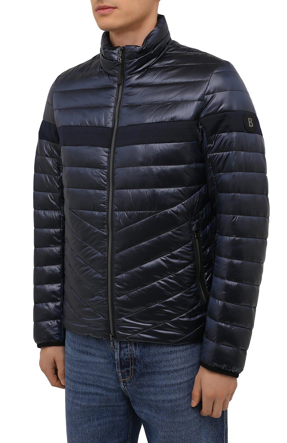 Мужская утепленная куртка BOGNER темно-синего цвета, арт. 38426549   Фото 3 (Кросс-КТ: Куртка; Мужское Кросс-КТ: пуховик-короткий; Рукава: Длинные; Материал внешний: Синтетический материал; Материал подклада: Синтетический материал; Длина (верхняя одежда): Короткие; Стили: Кэжуэл)