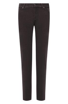Мужские брюки из хлопка и кашемира MARCO PESCAROLO темно-серого цвета, арт. NERAN0M18/ZIP/4405 | Фото 1 (Материал внешний: Хлопок; Длина (брюки, джинсы): Стандартные; Случай: Повседневный; Стили: Кэжуэл)