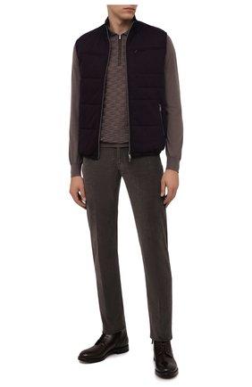 Мужские брюки из хлопка и кашемира MARCO PESCAROLO темно-серого цвета, арт. NERAN0M18/ZIP/4405 | Фото 2 (Материал внешний: Хлопок; Длина (брюки, джинсы): Стандартные; Случай: Повседневный; Стили: Кэжуэл)