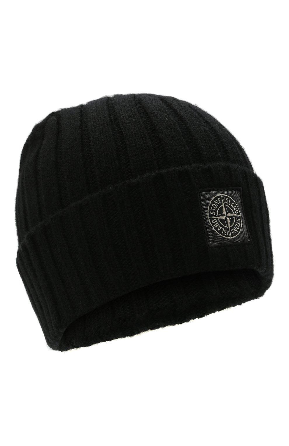 Мужская шерстяная шапка STONE ISLAND черного цвета, арт. 7515N24B5 | Фото 1 (Материал: Шерсть; Кросс-КТ: Трикотаж)