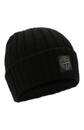 Мужская шерстяная шапка STONE ISLAND черного цвета, арт. 7515N24B5 | Фото 1