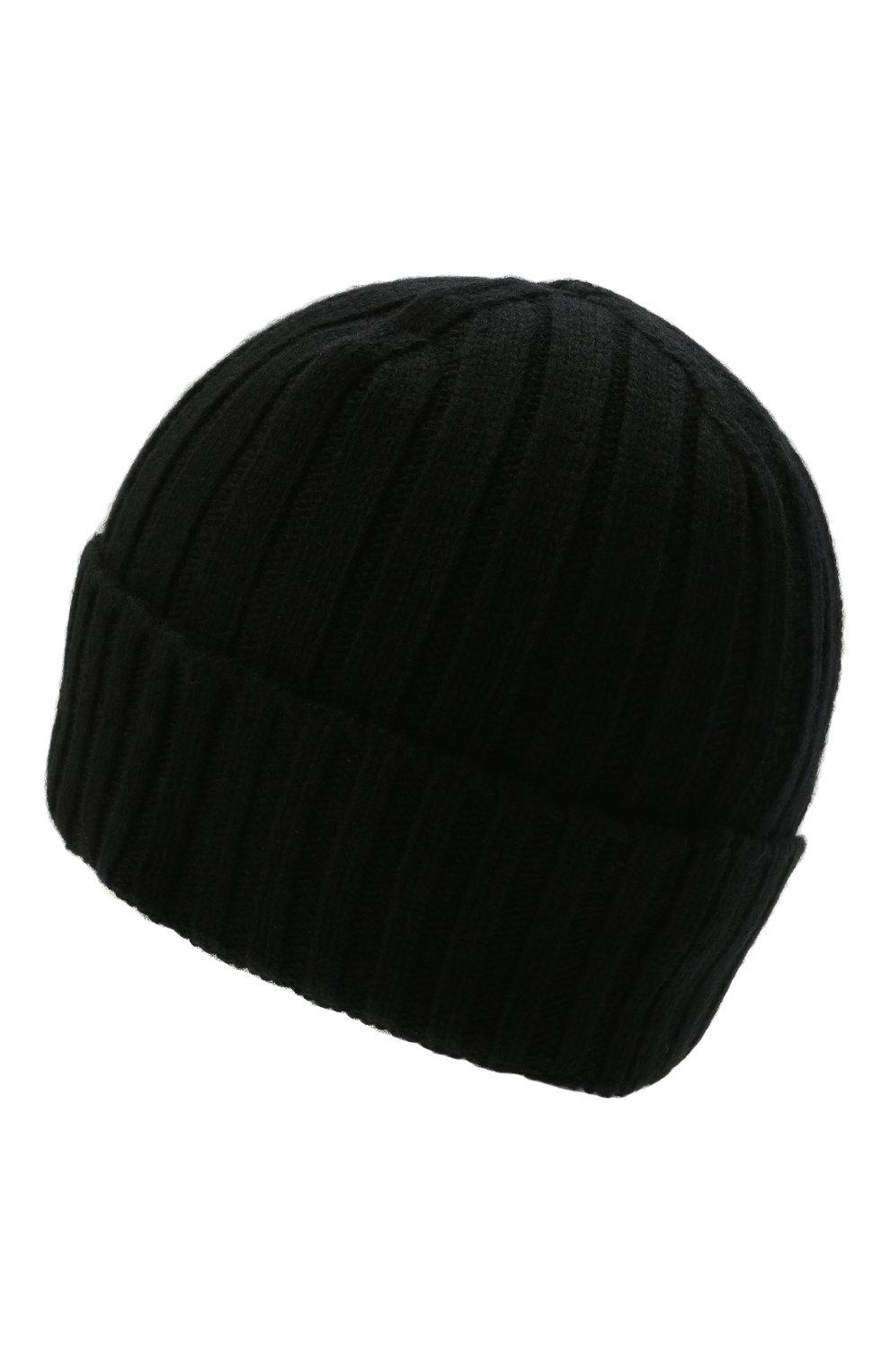 Мужская шерстяная шапка STONE ISLAND черного цвета, арт. 7515N24B5 | Фото 2 (Материал: Шерсть; Кросс-КТ: Трикотаж)